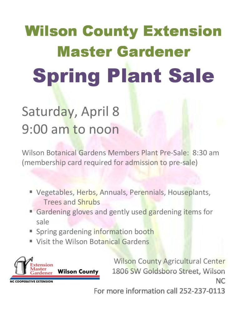 Wilson County Master Gardener Spring Plant Sale North Carolina Cooperative Extension