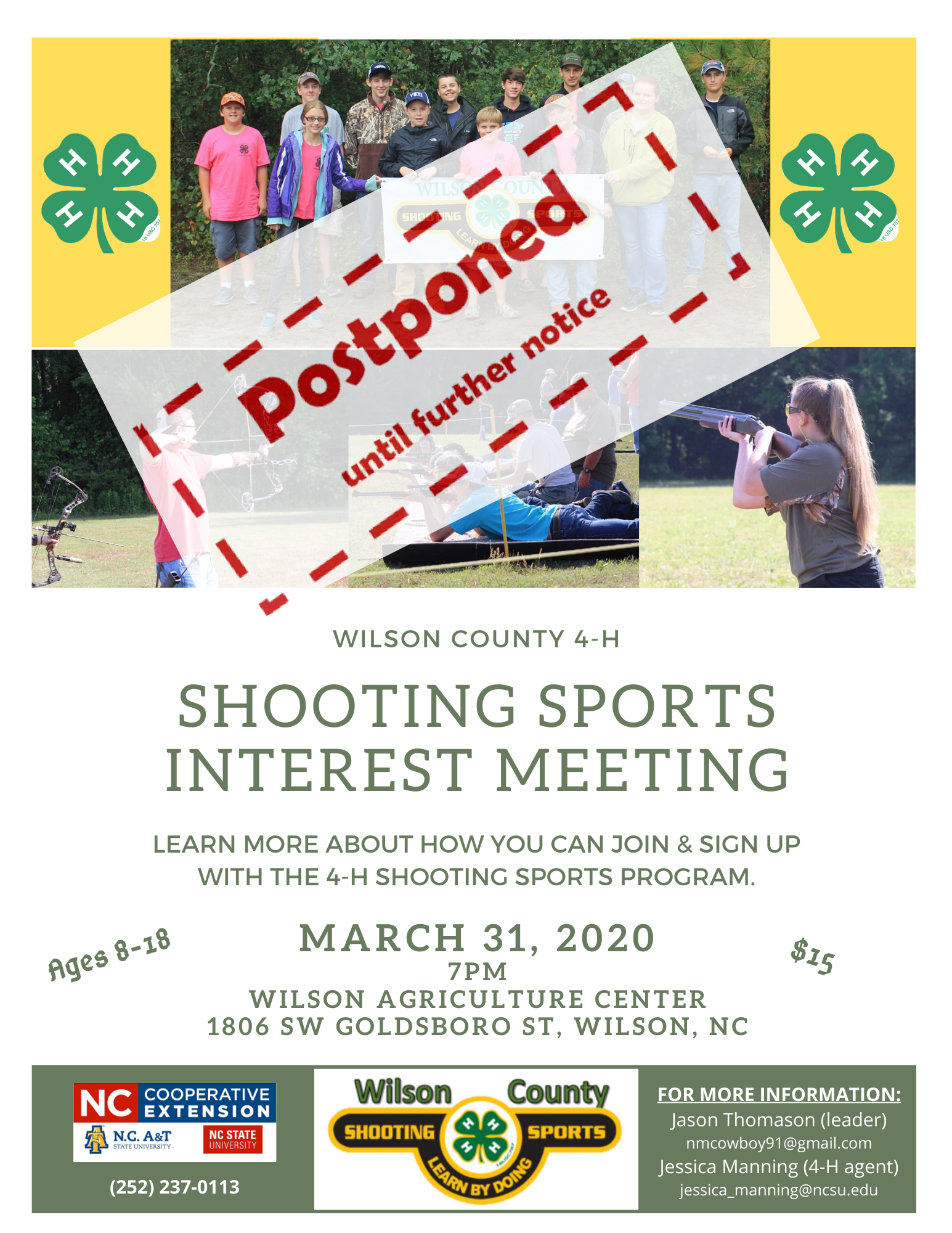 Shooting Club flyer - event postponed