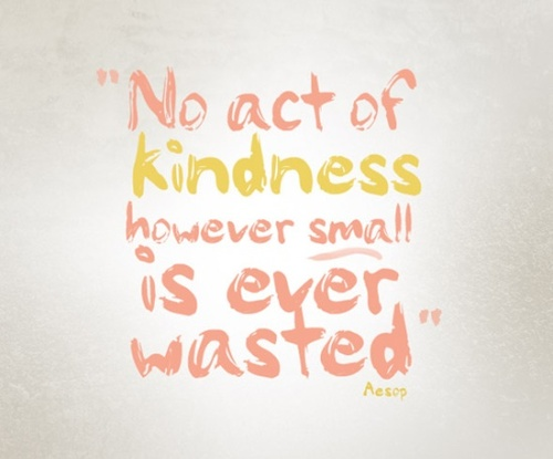No act of kindness however small is ever wasted. --Aesop