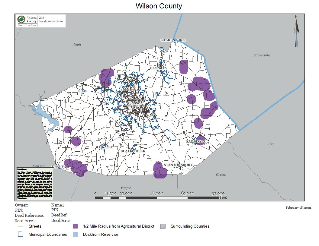Wilson County Voluntary Ag District GIS layer