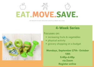 Cover photo for RESCHEDULED Eat.Move.Save.
